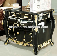 Luxury Solid Wood Night Table Covered with Gold Decoration/ Bedstand/ Night Stand