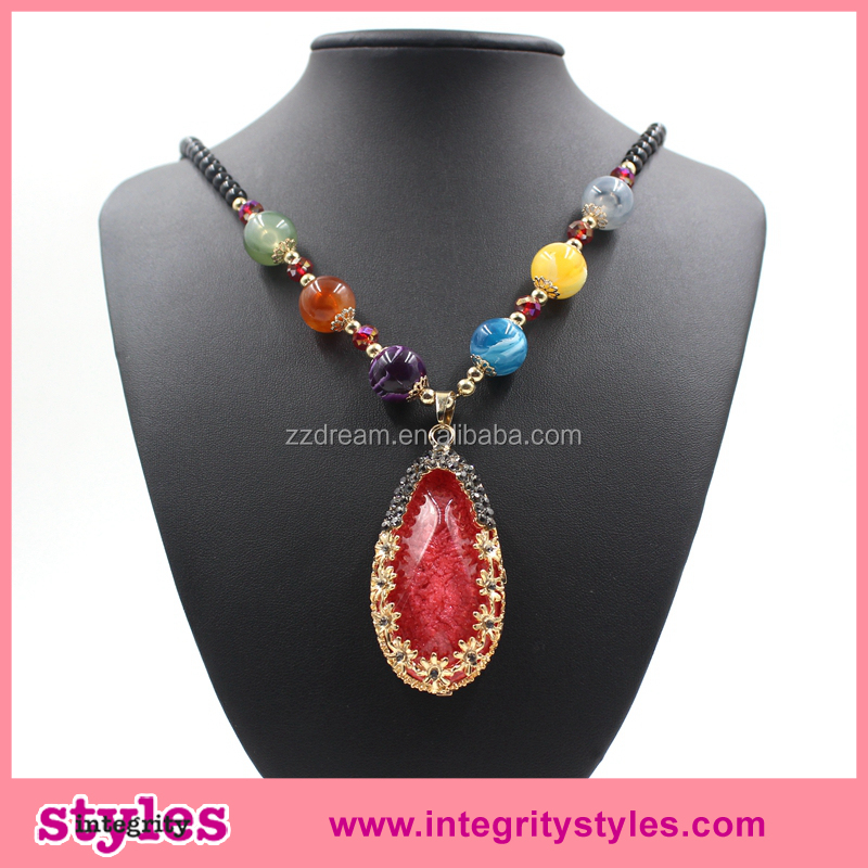 2016 New Design Red Imitate Turquoise Long Beaded Necklace