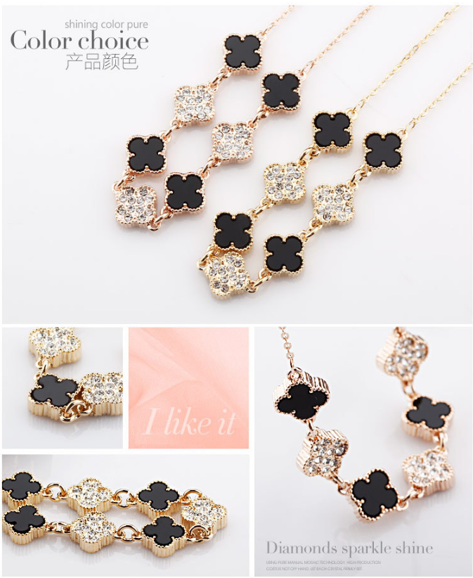 OUXI top sale fashion black four leaf 18K gold necklace chain engagement necklace african jewelry necklace set