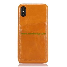 High Quality Cowhide Genuine Leather Credit Card Slot Hard Back cover case for iPhone X