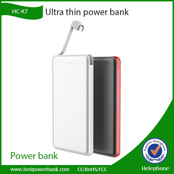 Newest Ultra Slim Power Bank 5000mah Build-in cable Credit Card powerbank For Smartphone