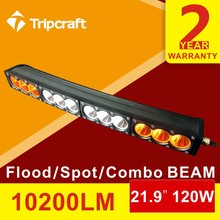 22inch 120W CREES amber/white customized curved led driving light bar 12v led light bar