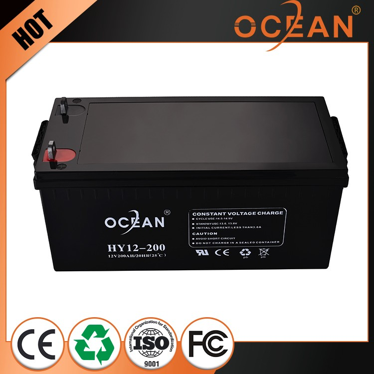 Hot sales CE/MSDS certificated solar battery long life maintenance free 12v 200ah dry agm deep cycle battery
