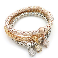 Three Colors Layered Rhinestone Geometry Pendant Snake Chain Charm Bracelet