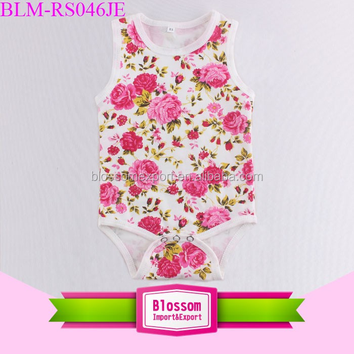 Wholesale Cotton Summer Short Baby Bodysuit Floral Plain Baby JumpSuits Rompers
