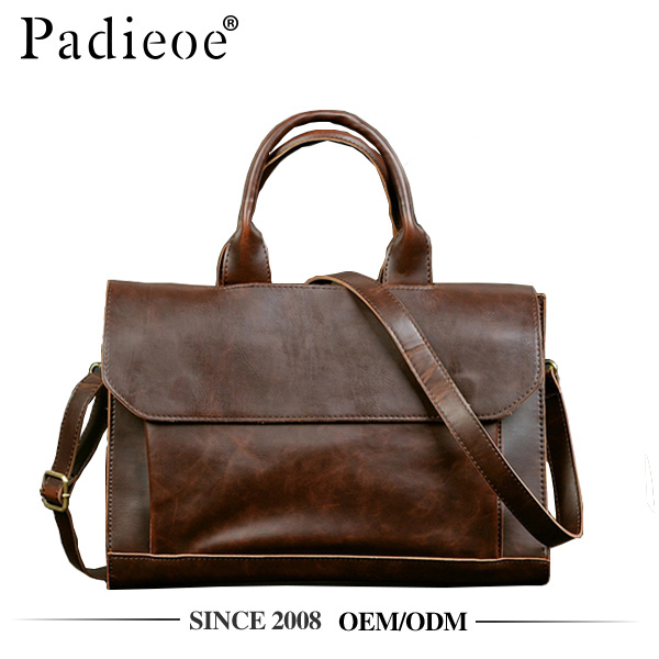 Padieoe PDA303-Y Vintage crazy horse leather PU hand bag for men