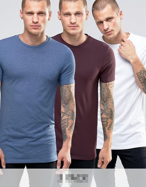 Wholesale Men Longline Muscle Fit Blank T Shirt 95%Cotton5%Spandex T-Shirt Design