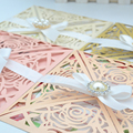 Hot sale luxurious rose laser cut wedding invitations card envelopes