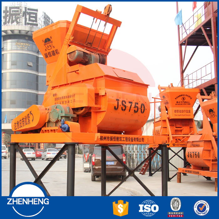 JS750 Electric Engine Daftar Harga Double Twin Shaft Concrete Mixer