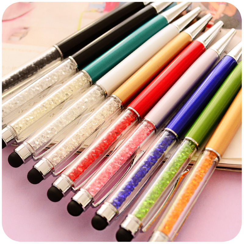 Colorful Crystal Capacitive Touch Screen Pen and Ball-point Pen 2 in 1 for School and Office