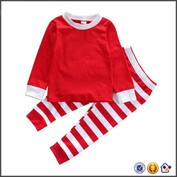 KY OEM long sleeve winter warm child red and white Top and Stripe Pants wholesale family christmas pajamas