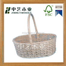 2016 year china supplier FSC handle wicker wine bottle holder basket for family decorating