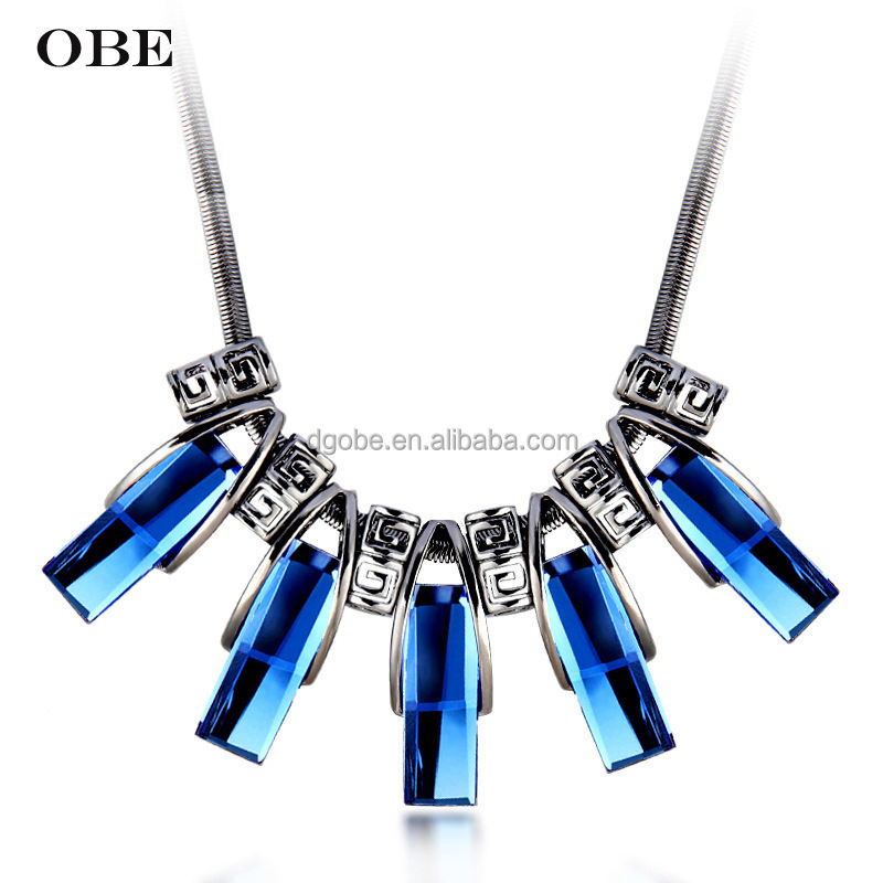 OBE New fashion Wholesale chunky statement necklace in china beaded female large costume jewelry necklace
