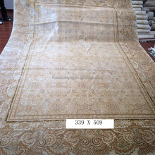 oversize 100% silk hand knotted beige vintage home goods area rugs for sale