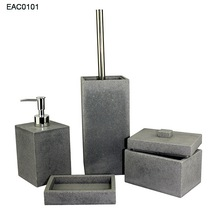 Bathroom accessories grey concrete / resin bath accessories Soap Dish Dispenser Tumbler Toothbrush Holder