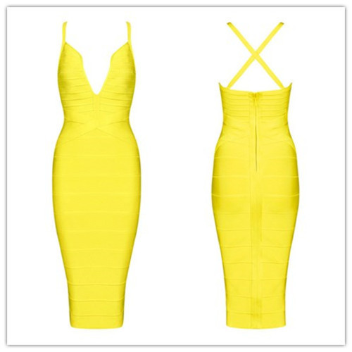Sexy Deep V-Neck evening party woman dress summer mid-calf candy dress solid color yellow, khaki, red, black bandage dresses HL