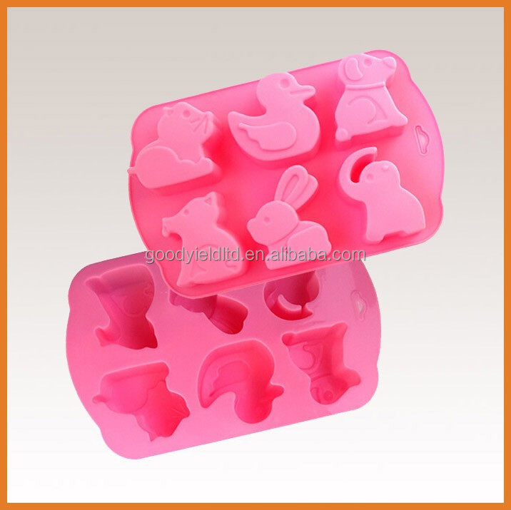 6 holes cartoon animals design cupcake baking mold