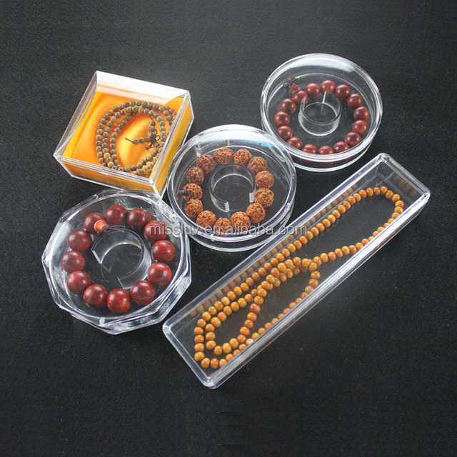 acrylic gem box display for Buddhism Prayer beads bracelet necklace jewelry clear gem box