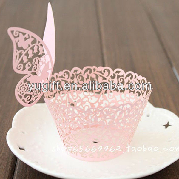 Hot!! Pink Vine laser cut paper cupcake wrappers with butterfly topper