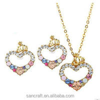 New model trending jewelry 18k gold plated lovely heart necklace set with Austrian crystal