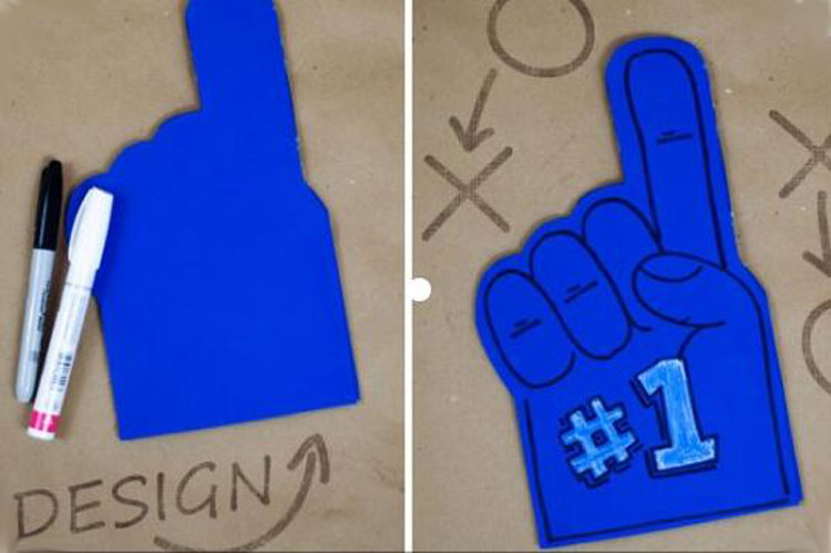 Color  eva foam Palm  Printable diy cheering Hand For Sports