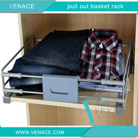 Wardrobe soft close clothes storage basket wood board rack with Hettich slide