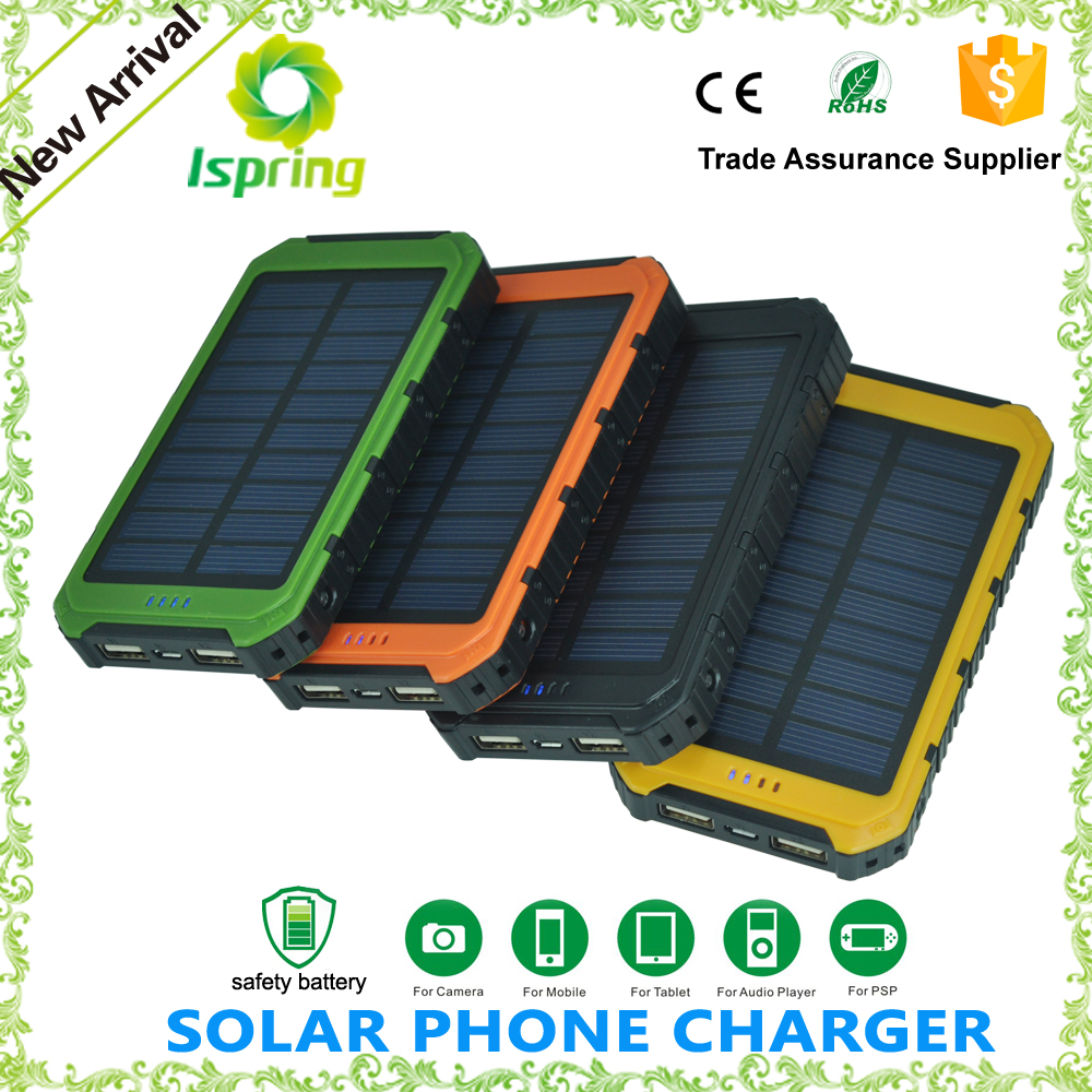 Authorized 13000MAH solar battery charger 2 USB Battery Panel Mobile Phone Power Bank External Battery Charger for iPhone