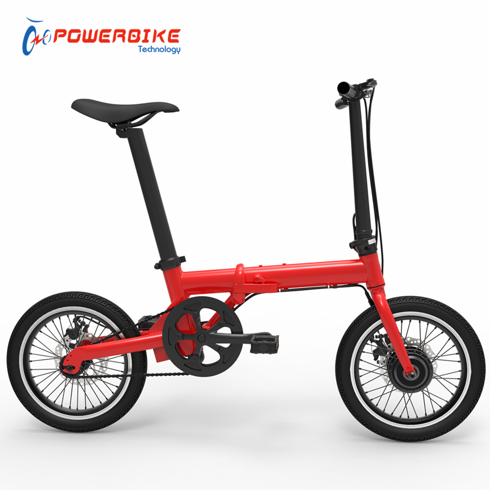 Factory direct 16 inch 250w 36v red electric folding bike with CE certify