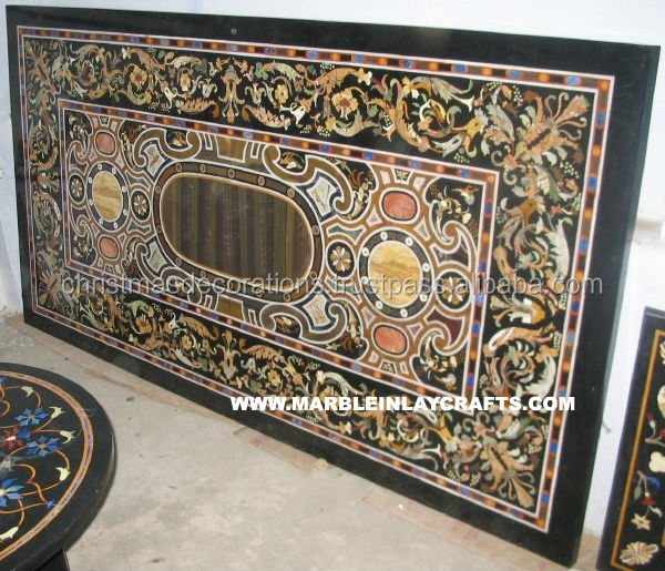 Indian Pietra Dura Marble Table Tops, Italian Marble Inlay Dining Table