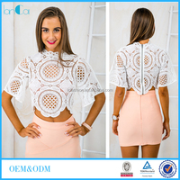 Wholesale lace clothing for honey girl latest designer fashion crop top