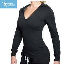 custom print plain black women hooded gym sweatshirt manufacturer
