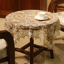 For wedding or party or banquet wholesale polyester 3D flower round crochet tablecloth
