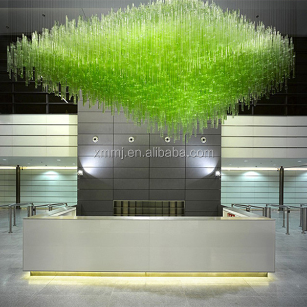 Newly fashional art decor blown green glass tubes restaurant reception ceiling hanging lights