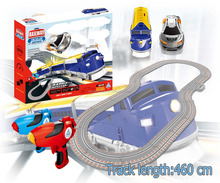 Soba toys factory Wireless digital control railway and racing car set 1:43 racing slot car train set with rc toy