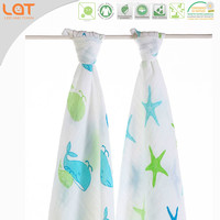 LAT Pre-washed 100% cotton muslin newborn organic cotton wraps