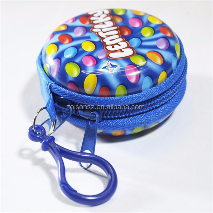 decorative mini round metal tin earbud case with zipper