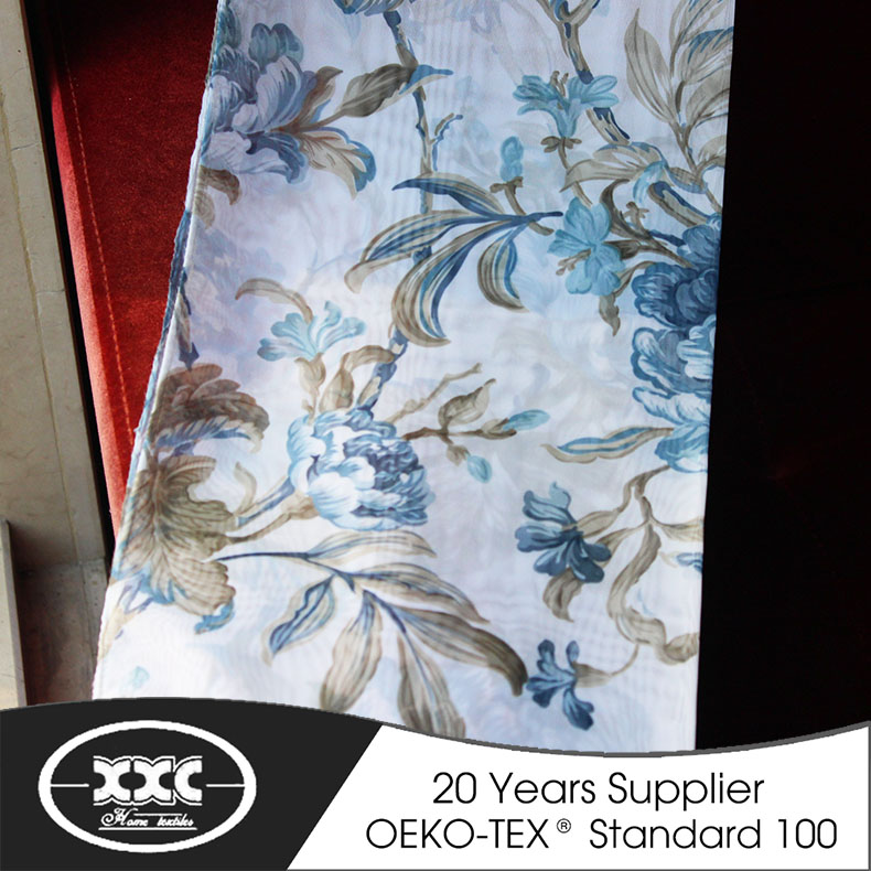 soft hand touch polyester voile printed sheer curtain fabric