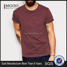 MGOO Hot Sale Rolled Sleeves Mens T shirt Plain Pockets Your Brand Cotton Polyester Blend T shirt