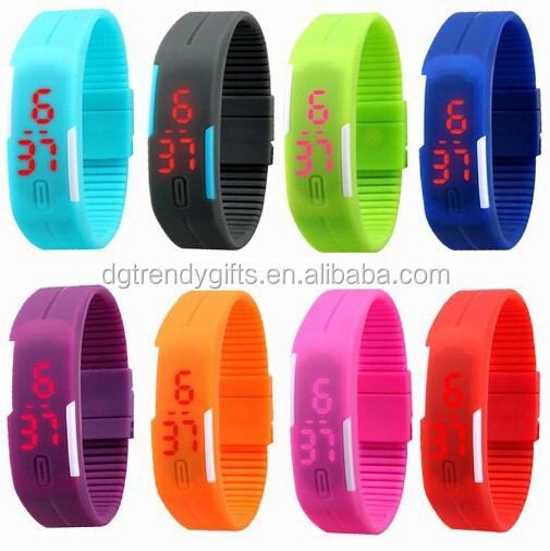 Candy Color Touch LED Digital Date Silicone Men Women Sport Bracelet Wrist Watch For Christmas Gift