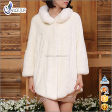 Wholesale Fashion Winter Luxury Natural White Real Mink Fur Coat and Jackets For Woman