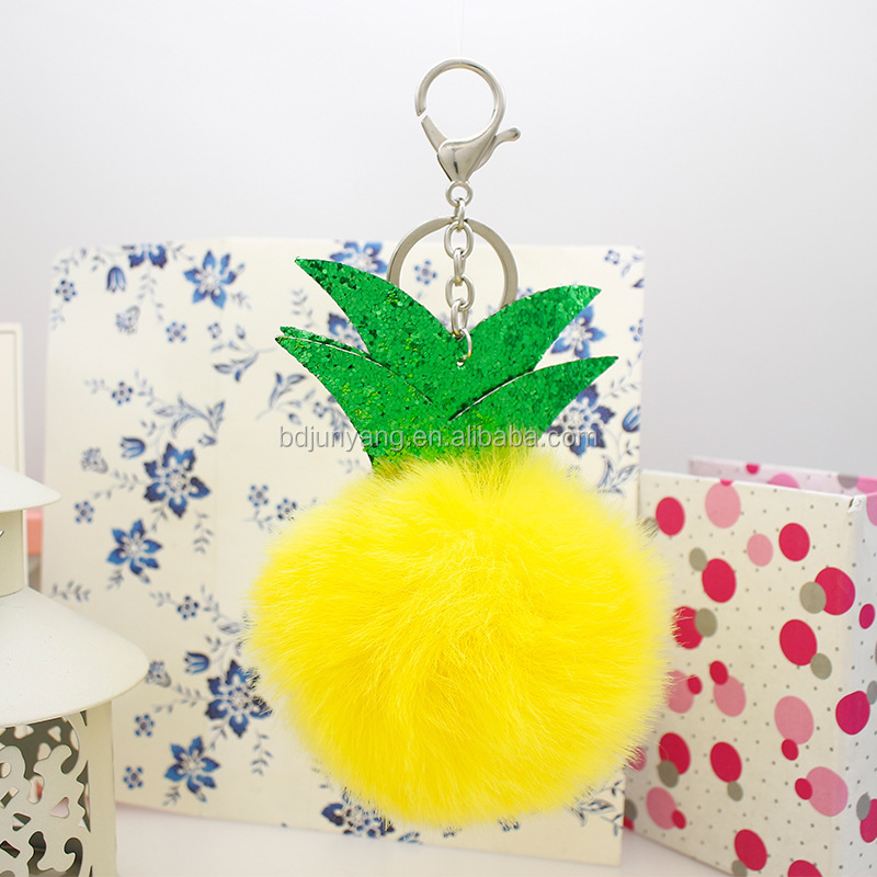 Online shopping fake fur ornament faux fur pom pom keychain ball key chain attachment