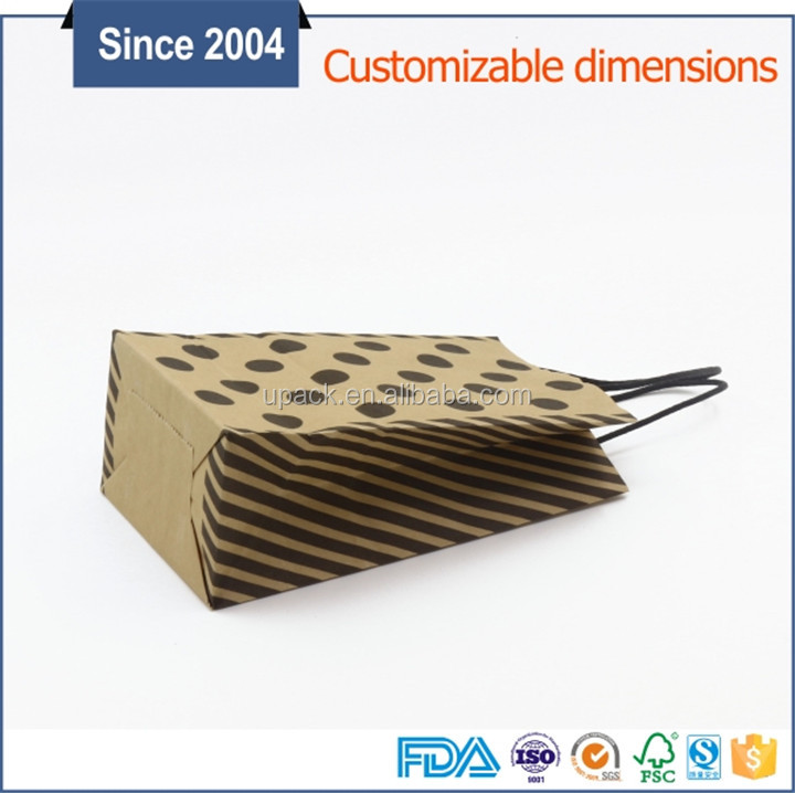 China supplier wholesale gift Industrial Use brown kraft printed paper carrier bags