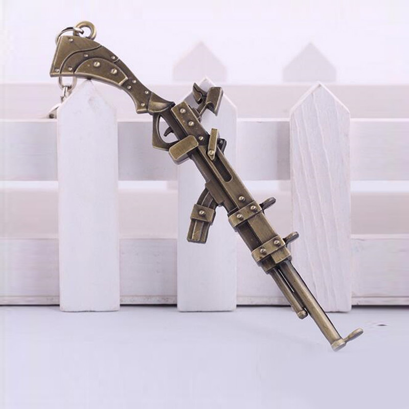 League of Legends The Sheriff of Piltover Caitlyn's Rifle Gun Keychain 12cm Metal Pendant Key Chain LOL Games Theme Keyring