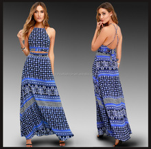Wholesale 2016 Summer Sexy Strappy Floral Printed Midriff-baring Maxi Dress