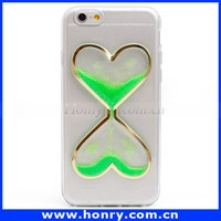 Hot selling TPU Heart Liquid Glitter Mobile Phone Case For iPhone 6/6s