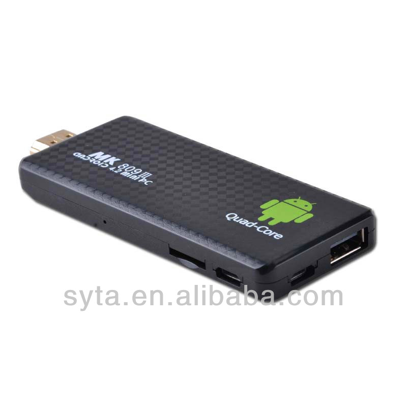 quad core Android mini tv box PC with android 4.2.1 DDR3:2GB+Nand:8GB dongle