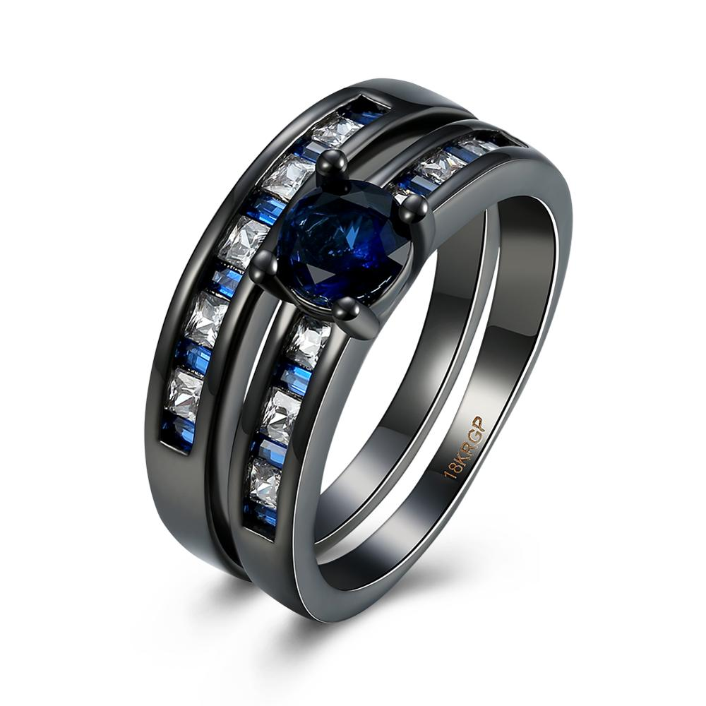 2017 hot sale fashion Two ring black gold plated rings with White and blue gem ring
