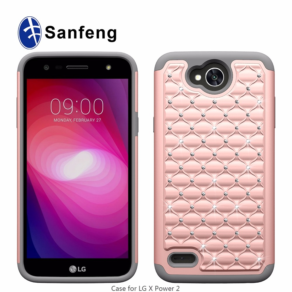 Mobile phone diamond case for LG X Power 2 LV7 <strong>K10</strong> Power shockproof case