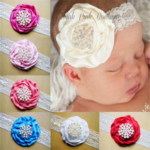 Fashion fabric flower baby headbands with pearls and rhinestone