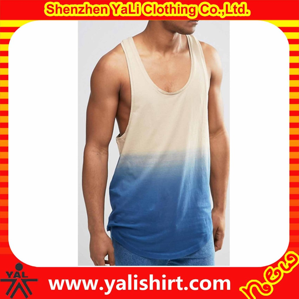 Fashion breathable longline curved hem 100%polyester sublimation dip dye racer back gym wear fitness